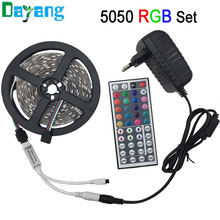 non waterproof 5050 RGB led strip 5m fita de led tape diode feed tiras lampada DC 12V+44 key remote controller+12V power adapter(China (Mainland))