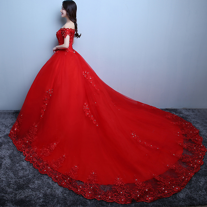 New arrival red white big wedding dresses with cathedral for Red and white wedding dress