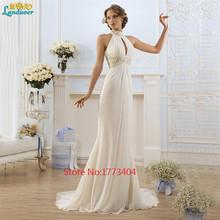 2016 Simple White Halter A-Line Wedding Dress Court Train Sleeveless Custom Made Bridal Gown Plus Size Handmade estidos De Novia(China (Mainland))