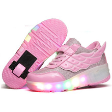 2016 New Children Heelys Shoes Girls Wing Led Light Sneakers Shoes with Wheel Kids Roller Skate Shoes Pink YY1741(China (Mainland))