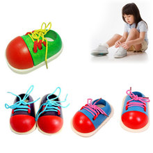 Children Wooden Threading Shoe Learn To Tie Laces Educational Toy Game Cute #80081(China (Mainland))