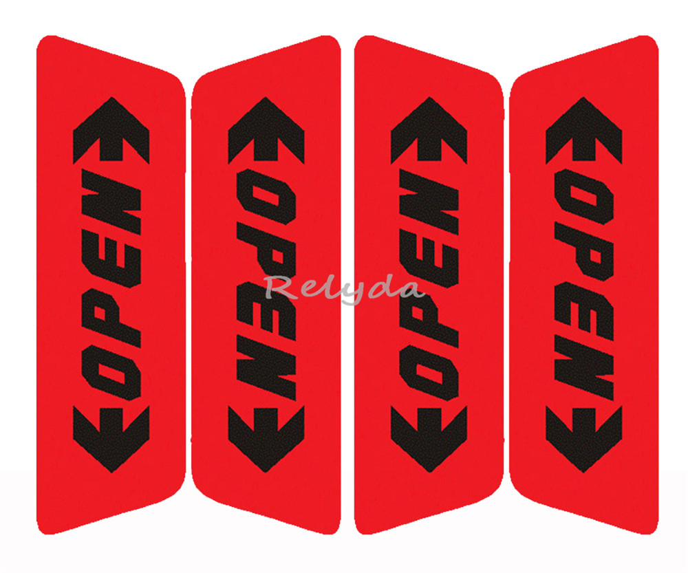 4pcs/pack Free shipping auto door car door OPEN warning caution reflective stickers adhesive labels for safe driving Red Orange(China (Mainland))