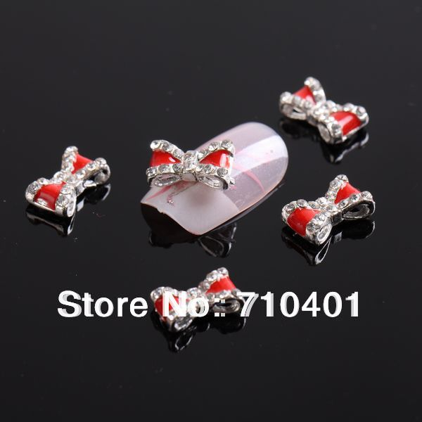 Xmas Free Shipping Wholesale/Nails Supply, 50pcs 3D Alloy Red Bowtie DIY Acrylic Nail Design/Nails art, Unique Gift Novelty Item(China (Mainland))
