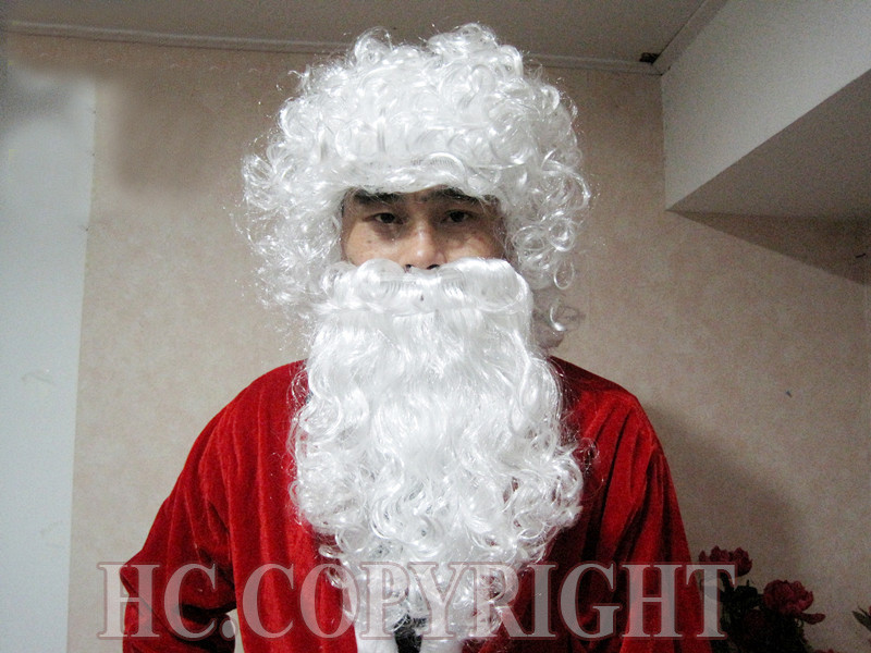 Christmas Xmas Funny SANTA CLAUS WHITE WIG &amp; BEARD Wizard Man Fancy Dress For Xmas Anime queen Cosplay hair wigs Free deliver<br><br>Aliexpress