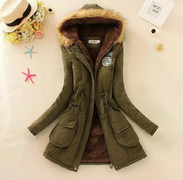 Basic jackets Winter Jacket Women 2016 New Winter Womens Parka Casual Outwear Military Hooded Coat Fur Coats jackets 9852(China (Mainland))