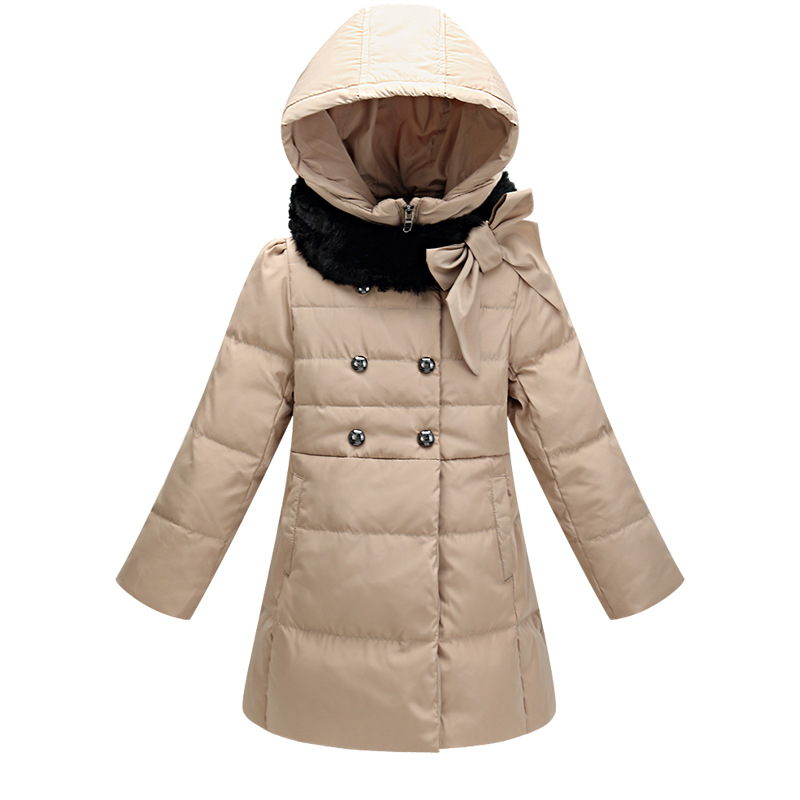 2015 new girls down jacket in the long section of the big girl jacket fur coats for kids winter jacket kids girl(China (Mainland))