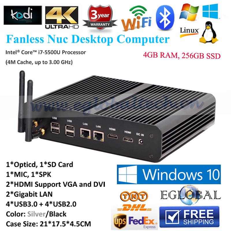 Eglobal Mini Computer 4GB RAM 256GB SSD Intel NUC Core i7 5500u i5 5257u Fanless Mini PC Windows 10 SD Card Mini-Itx Desktop PC(China (Mainland))