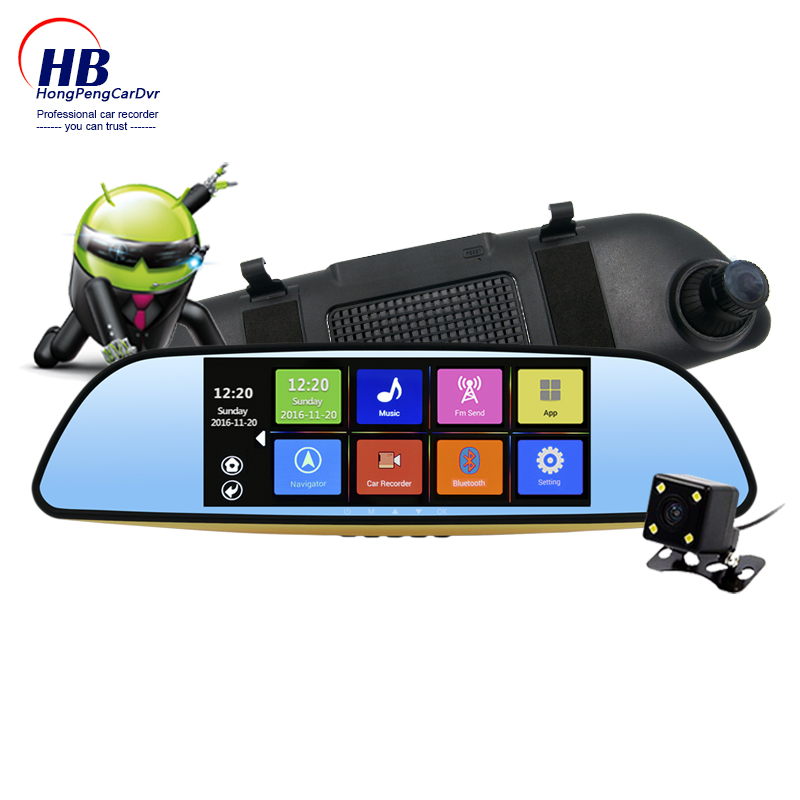 2017 Best quality off sale Android 4.4 Car DVR GPS navigation rear view mirror HD dual lens camera auto recording G-sensor(China (Mainland))
