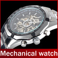 2015 Famous Brand Winner Stainless Steel Automatic Self Wind Skeleton Mechanical Men Full Steel Watch For