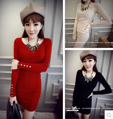 Korean version of the new winter fashion style sleeve knit dress casual one-breasted women bottoming clothes(China (Mainland))