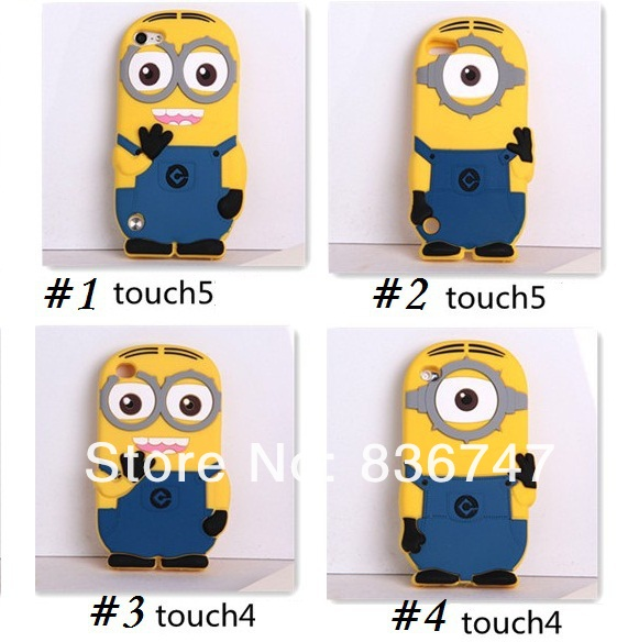 3D Despicable Cartoon soft silicone gel rubber case cover ipod touch 4 4th 5 5th cases cute smile big eye minions - To New Tech CO., LTD. store