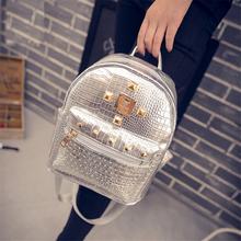 backpack for teenager girl 2016 fashion mini shoulders bag mochila travel ladies rivet crocodile pu leather backpack for female(China (Mainland))