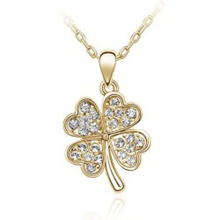 Fashion New Necklace Glossy Flower Gold plated Heart Four Leaf Clover Lucky Pendant Jewelry 067 - Jinghong store
