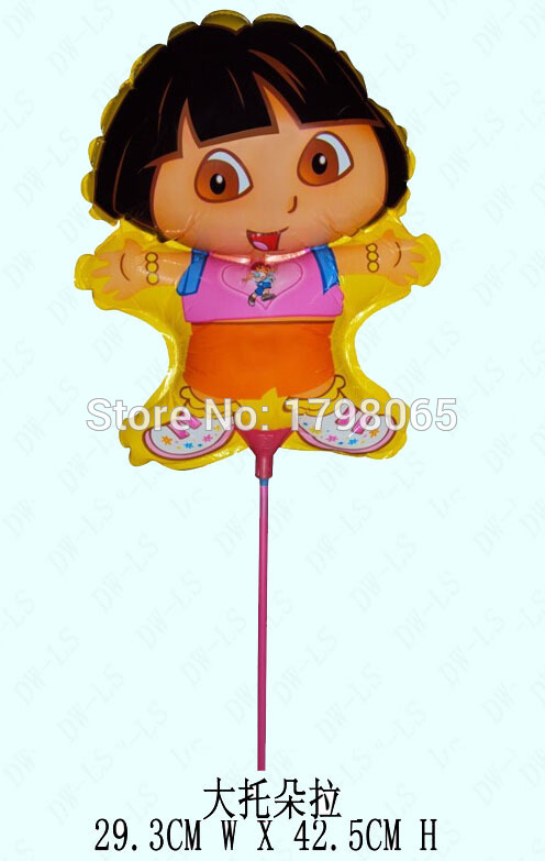 wholesale foil balloon within stick, . aluminium foil balloon ,size 29*42cm DORA balloons 20 pcs/Lot(China (Mainland))