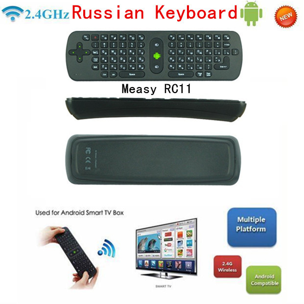 Measy RC11 Russian Air Mouse 3-IN-1 Combo 2.4GHz Wireless Fly Mouse Mini Keyboard for TV Box Mini PC Laptop Tablet(China (Mainland))