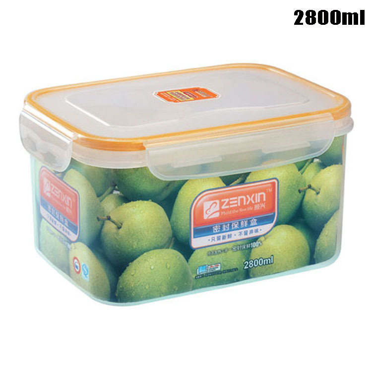 2800ml Plastic Crisper High Quality PP Lunch Box for Refrigerator and Microwave Oven Use Food Storage Box(China (Mainland))