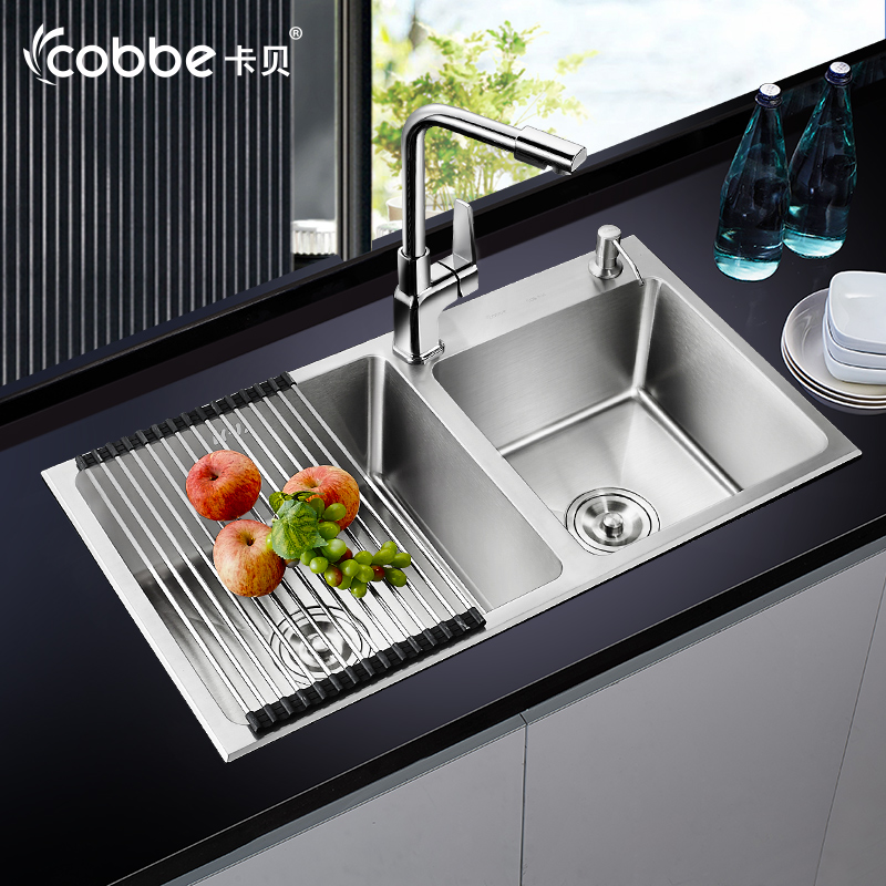Free shipping 304 stainless steel imitation handmade double slot package thickened one stretch Kitchen Sinks(China (Mainland))