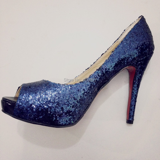 aliexpress buy royal blue glitter high heel peep toe