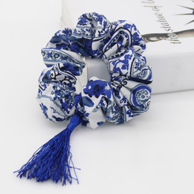 Blue-And-White Porcelain Design Women Scrunchie Girl Hair Tie Ponytail Elastic Hair Holder Rope Fashion Hair Accessories FCD108(China (Mainland))