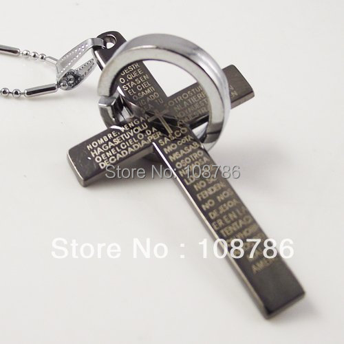 10pcs/lot necklace stainless steel Chain Alloy Pendant best selling steel cross&circle style pendant Men Man Jewelry