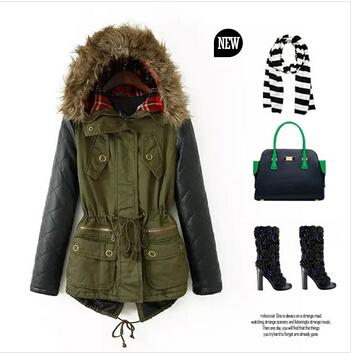 Womens Khaki Jacket With Leather Sleeves