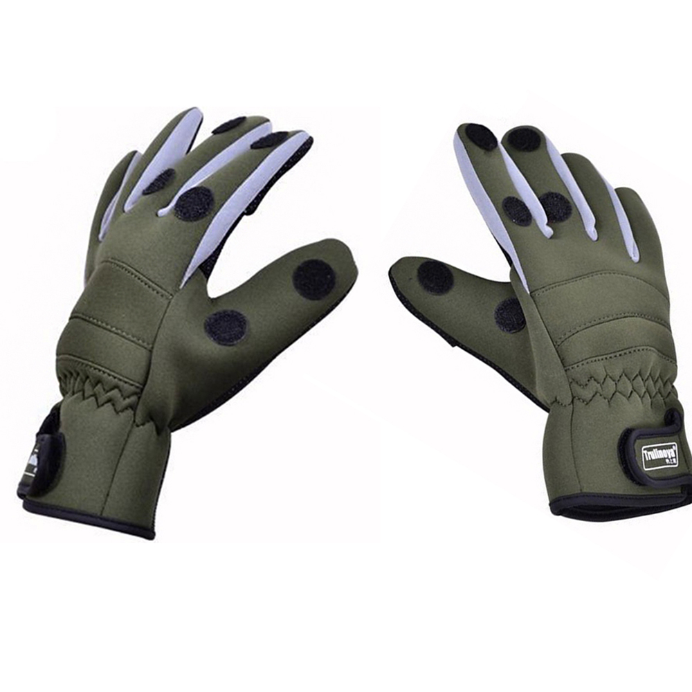 Trulinoya fishing gloves l xl waterproof army green non for Winter fishing gloves