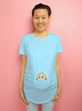 """""""Baby peeking out"""" 2016 New Maternity Shirt specialized for pregnant women plus size European big size pregnancy clothes(China (Mainland))"""