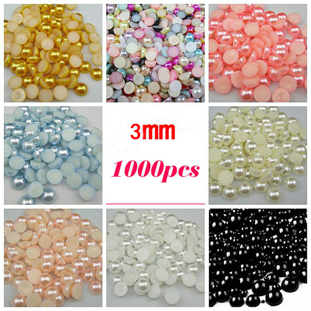Free Shipping Many Colors 3mm 1000Pcs Craft ABS Imitation Pearls Half Round Flatback Pearls Resin Diy Scrapbook Beads Decorate(China (Mainland))