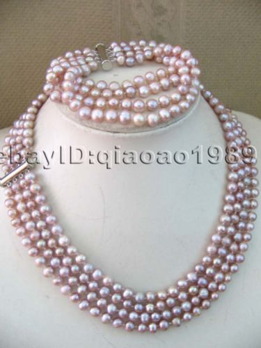FREE SHIPPING hot sale~~~~Genuine 4-row 6-7mm freshwater purple pearl sets necklace & bracelet(China (Mainland))