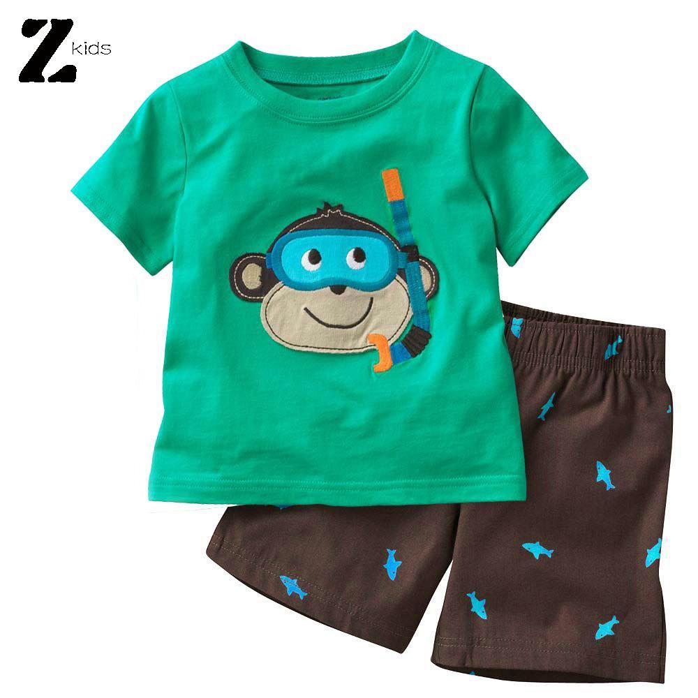 Summer Cute Baby Boys Pant Suit Green Monkey Shirt+Brown Pants Cartoon Cotton Infant Vestidos Baby Boys Suit Set(China (Mainland))