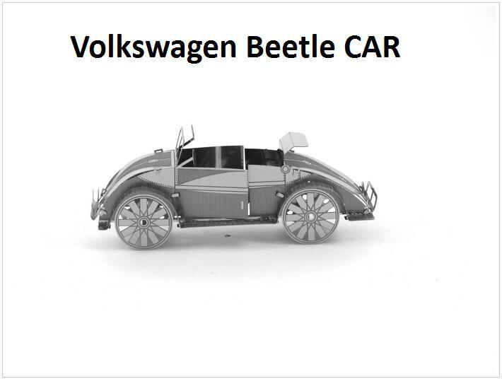 Volkswagen Beetle CAR Building Kits 3D Scale Models DIY Metallic Nano Puzzle Toys for adult/kids, 1PC PRICE NO TOOL diy TOY(China (Mainland))