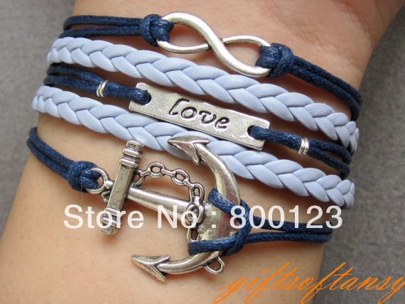 Nautical Bracelet - Antique Silver infinity bracelet,  Navy Blue wax cord and Braid bracelet - C285