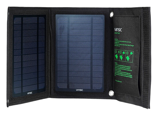 Vinsic Solar Panel 8W USB Charger, Foldable and Portable Dual-Port Solar Charger for 5V USB Devices (Black)(China (Mainland))