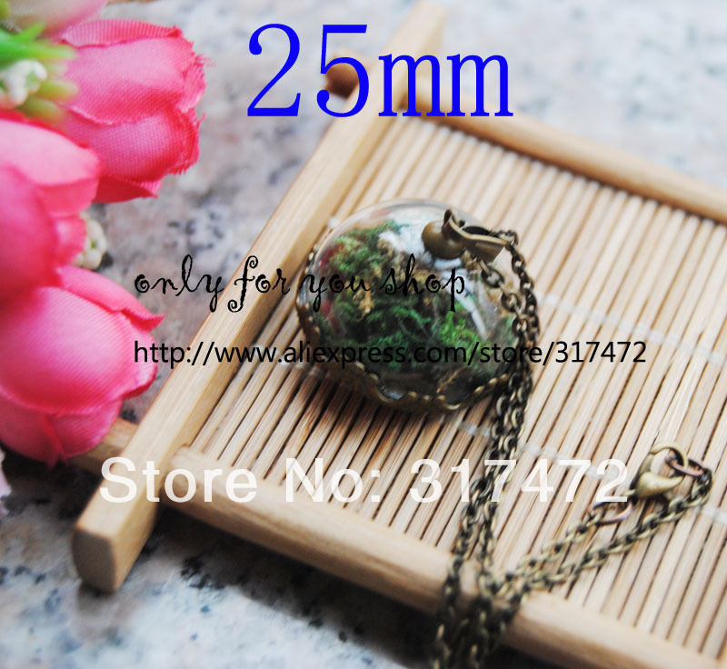 Wholesale 25mm half round glass vial dome &amp; blank base &amp;mental cap setting DIY jewelry pendant (not includ the necklace)<br><br>Aliexpress