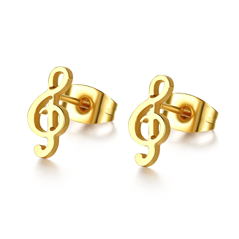 New Music Note Earrings 18K Gold Plated Stud Earrings Stainless Steel Earrings for Women Jewelry(China (Mainland))