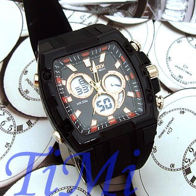 Mens Fashion Sport Watch Chrono Date Waterproof Black