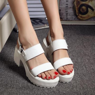 Genuine Leather Women Platform Sandals Open Toe Summer Sweet Gladiator High Heel Sandals Shoes Woman Size 34-40 White Black