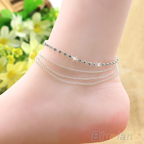 89a2a62f9 4 Layers Crystal Beads Sandal Beach Anklet Ankle Chain