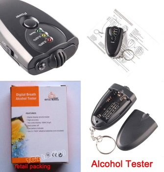 3 LED Keychain Digita breath alcohol tester Breathalyzer Alcohol Detector with torch, alcohol breath tester  500pcs/lot