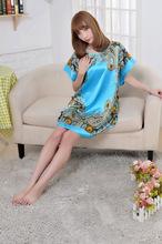 Free shipping  Summer New silk pajamas, Nightgown Loose code The loose big code Home Furnishing clothing Silk robe(China (Mainland))