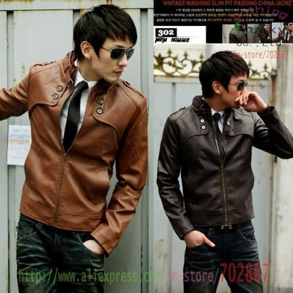 PU Leather Jacket Men's Slim new Unique leisure waistcoat upright collar clothing Korea trend Coat ML06 High Quality