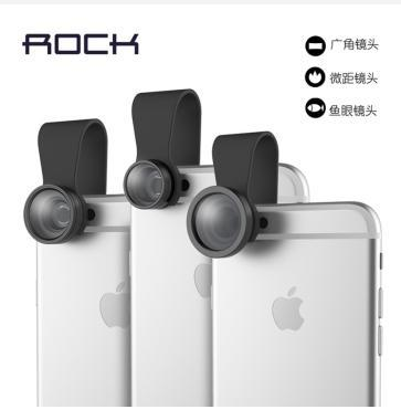 1pc ROCK Universal Chip Wide-Angle Lens/Fish Eye Lens/Macro Lens External Camera Mobile Phone For BlackBerry Samsung S6 Iphone 6(China (Mainland))
