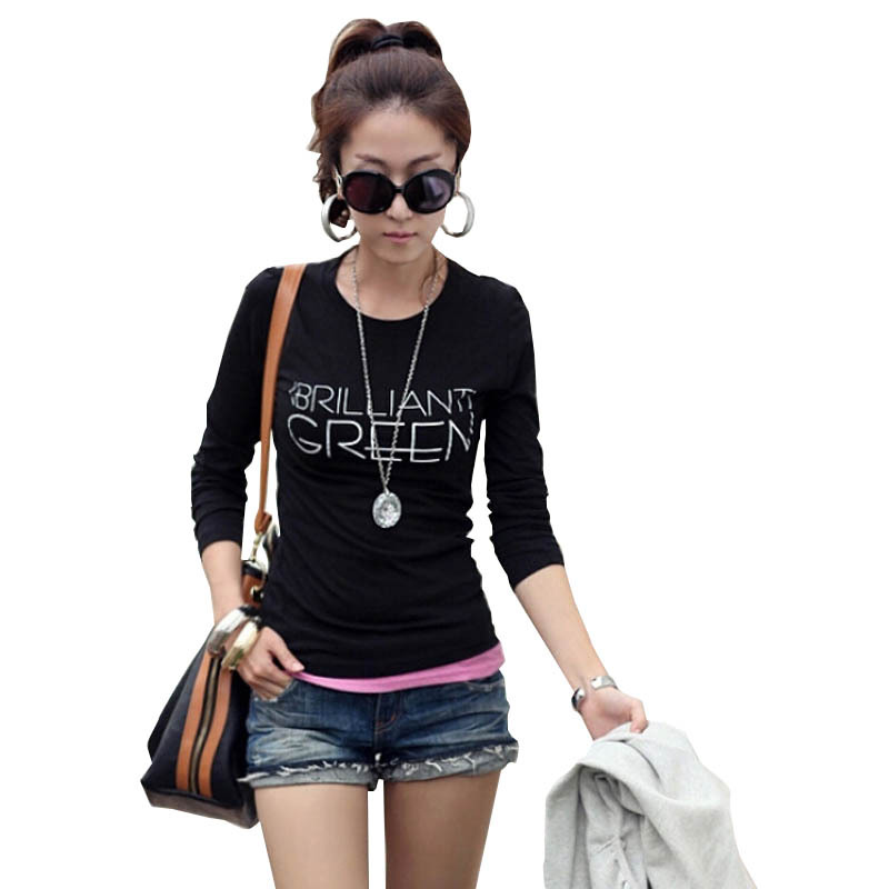 2015 New Casual Cotton Letters Printed T Shirt Fashion Sexy Women Slim Long Sleeve Blouse Blusas