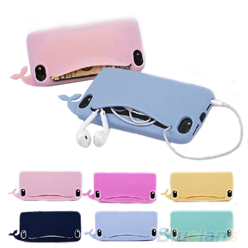 New desing phone bag handbag Kawaii Big Mouth Whale Rubber Card Holder Soft Case Cover for Apple iPhone 4/ 4S/ 5/ 5S 1NAC(China (Mainland))