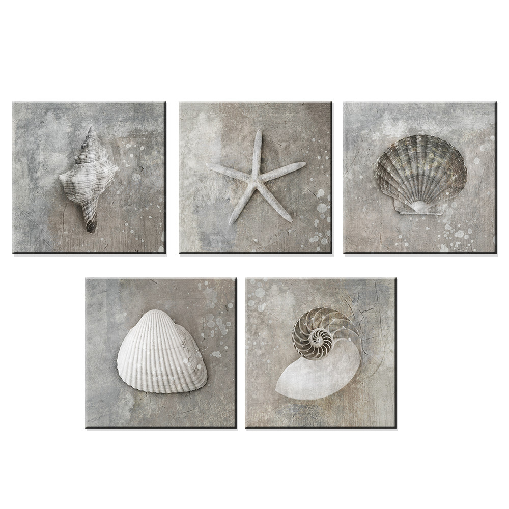 No Frame Grey Vintage Canvas Art Sea Shell Photo A4 Prints Posters Gifts Canvas Paintings Home Living Room Wall Art Decor 3 Pcs