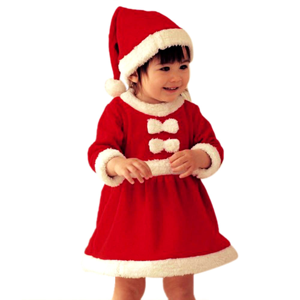 Lovesky New Arrival 1 Set Girls Kids Baby Infant Santa Claus Christmas Hats and Dress Freeshipping & Wholesale(China (Mainland))