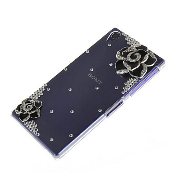 3D Camellias bling Rhinestone diamond Mobile phone cases cover Sony Xperia Z1 case L39h 3 colors - LOVE FASHION CASE store