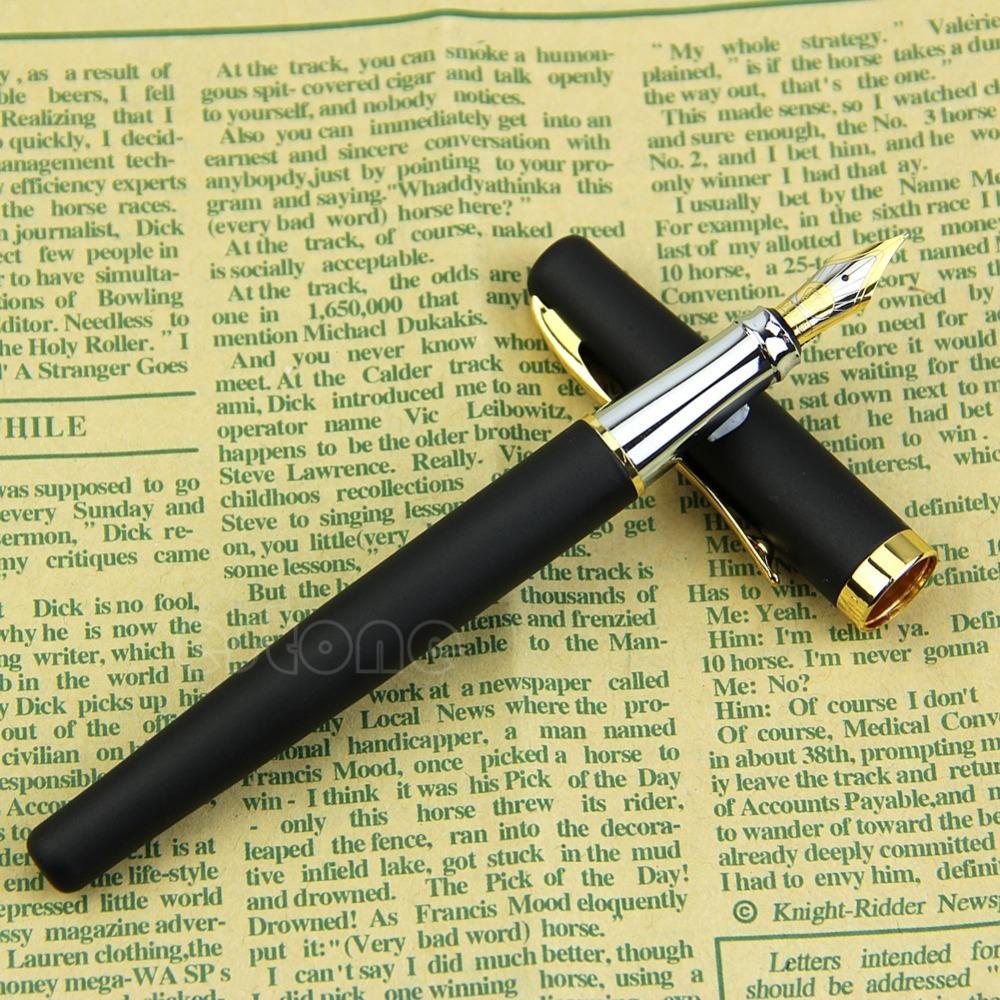 J34 Free Shipping Black Fountain Pen Matte 22KGP M Nib Set Nice Gift NEW<br><br>Aliexpress