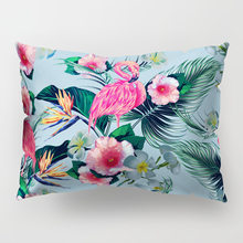 Tropical plant leaves flamingo butterfly rectangular polyester printing pillow cover 50*30cm home sofa pillowcase cushion cover(China)