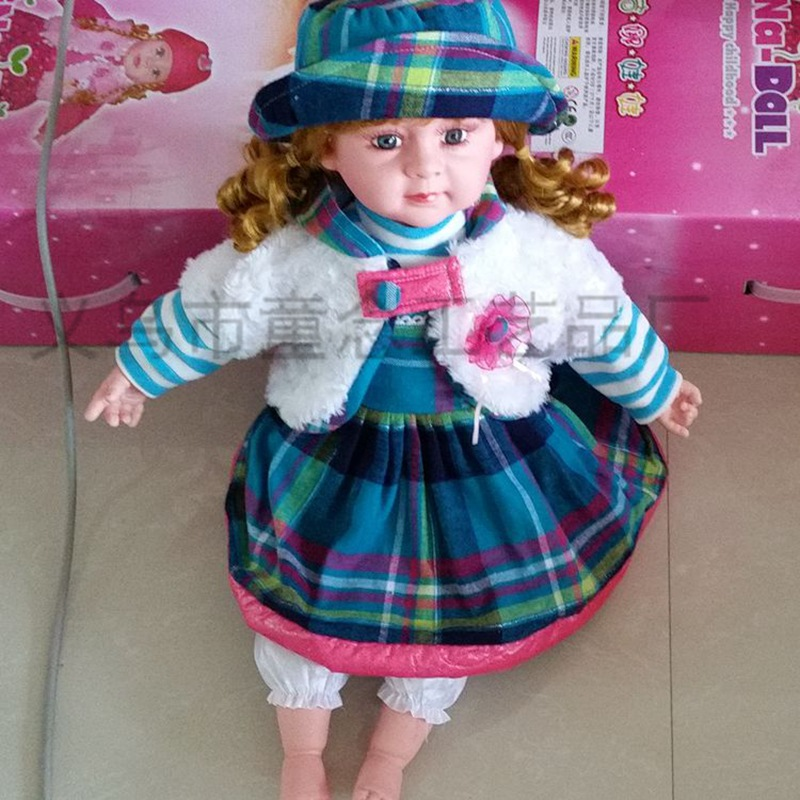 IC music is equipped with Spanish speaking, high simulation doll toys 18 inch high wearing hat doll(China (Mainland))